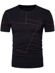 اللون كتلة غرزة طاقم الرقبة المحملة - أسود M