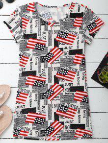 Graphic Patriotic American Flag T-Shirt Dress - 2xl