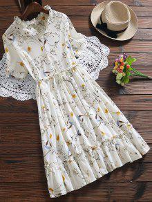 فستان كشكش الحاشية الحجم الكبير طباعة الأزهار - أبيض Xl