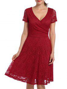 الخامس الرقبة عالية الخصر فستان الدانتيل - أحمر S