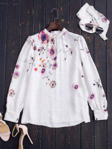 Chinese Painting Blouse With Tie - White M