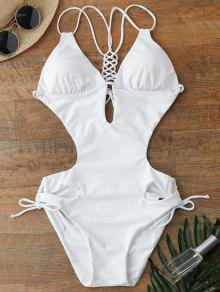 Lace Up Cut Out One Piece Swimwear - White M