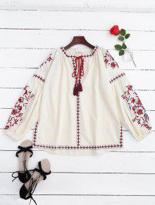 Embroidered Tie Neck Side Slit Blouse - Off-white S