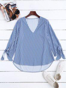 High Low V Neck Striped Blouse - Stripe M