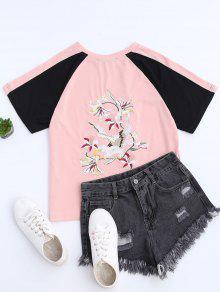 Color Block Back Embroidered Baseball T-Shirt - Pink L