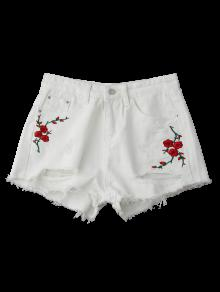 Embroidered Flower Ripped Hot Denim Shorts WHITE: Shorts S | ZAFUL