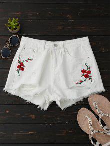 Shorts Déchirés En Jean Brodés En Motif Floral - Blanc Xl