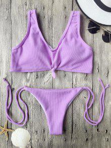 Ribbed Knotted String Bralette Bikini - Purple M