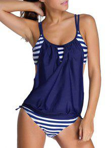 Striped Spaghetti Strap Blouson Tankini Bathing Suits - Deep Blue L