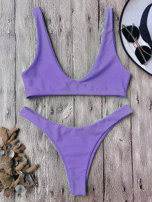 High Cut Scoop Bikini Set - Purple M