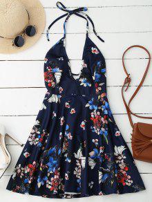 Halter Plunge Backless Floral Dress - Deep Blue 2xl