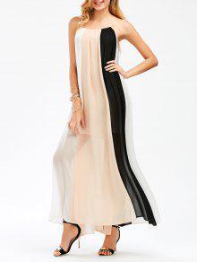 Color Block Flowing Maxi Slip Dress - 2xl