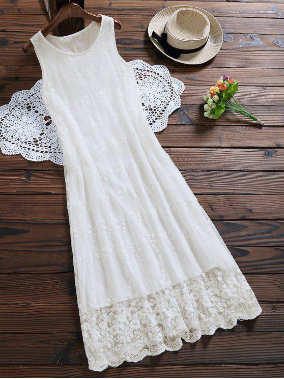 Ärmelloses Tüll Maxi-Kleid mit Spitzen - Weiß S