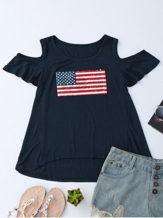 American Flag Sequins Cold Shoulder T-Shirt - Bleu Violet L