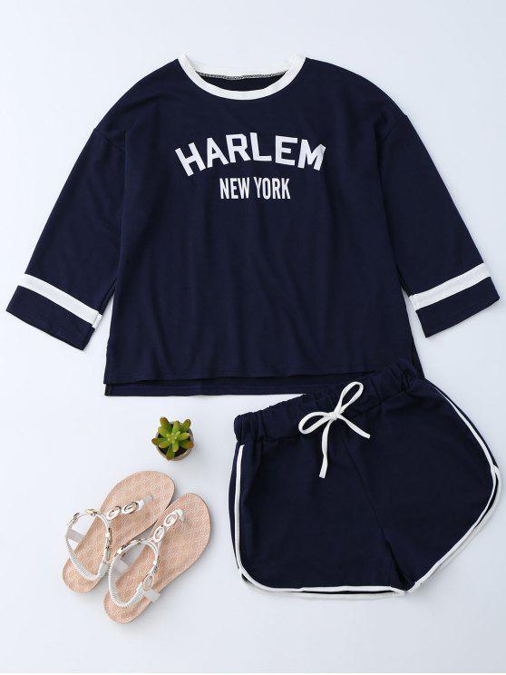 Pantalón gráfico con cordón y pantalones cortos - Azul Purpúreo M