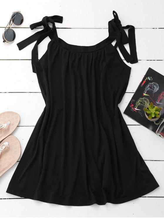 Vestido casual com cintas amarradas - Preto L