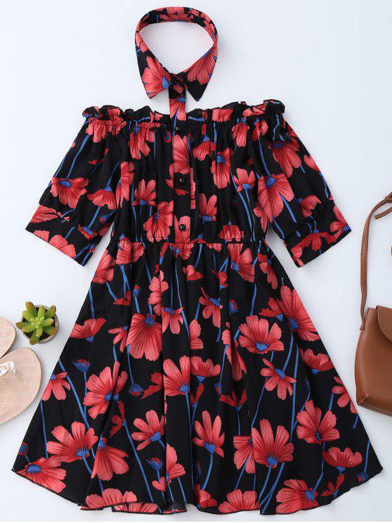 Vestito floreale dal vestito dalla spalla con il collare della camicia - Nero S