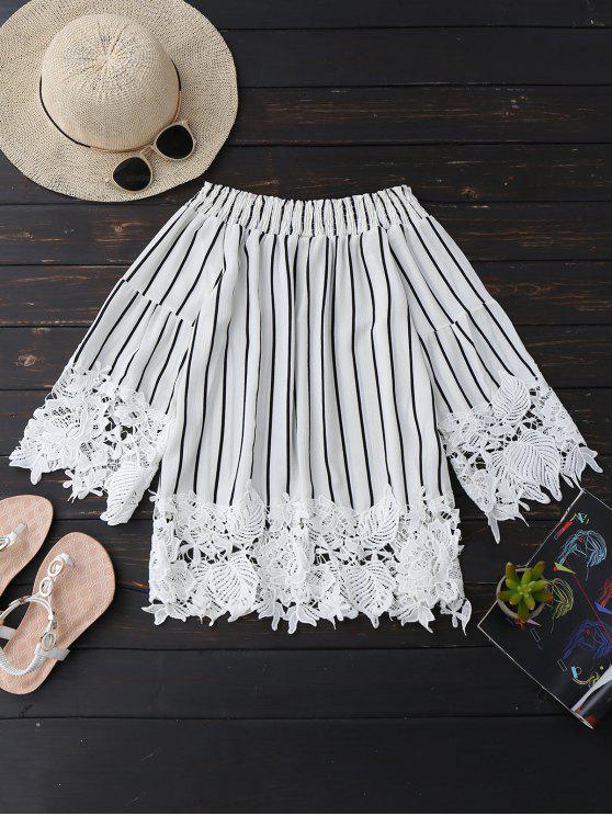 outfit Striped Lace Trim Off The Shoulder Blouse - STRIPE L