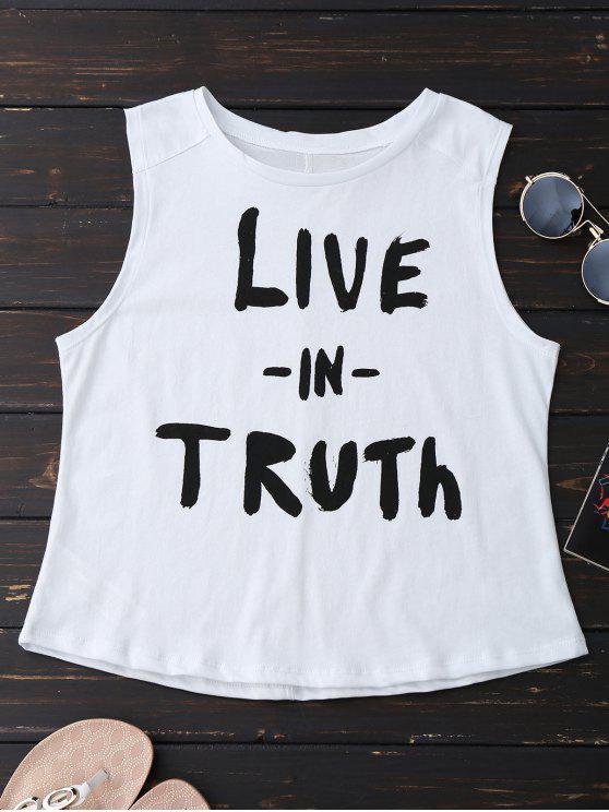 Camiseta sin mangas de algodón - Blanco M
