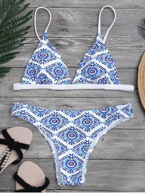 Ensemble de bikini à plongée rembourrée en mosaïque - Bleu et Blanc S