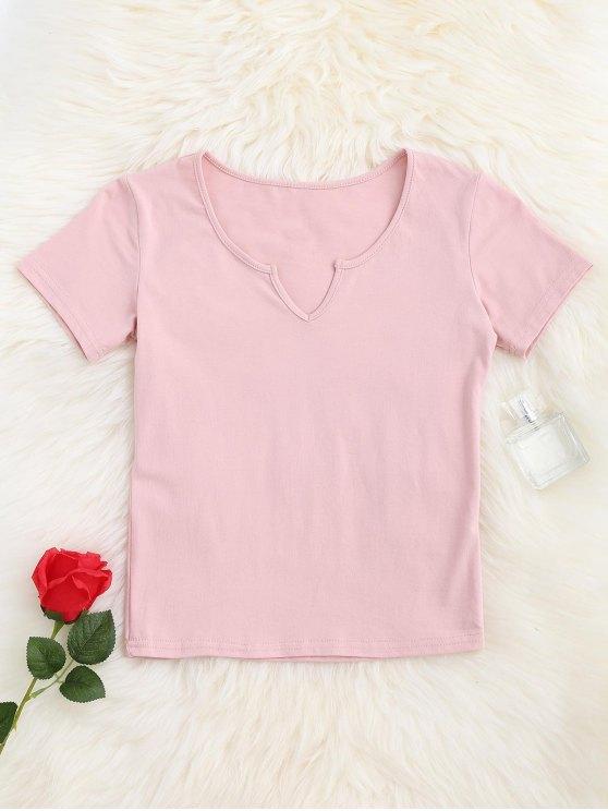 T-shirt à encolure en V - ROSE PÂLE S