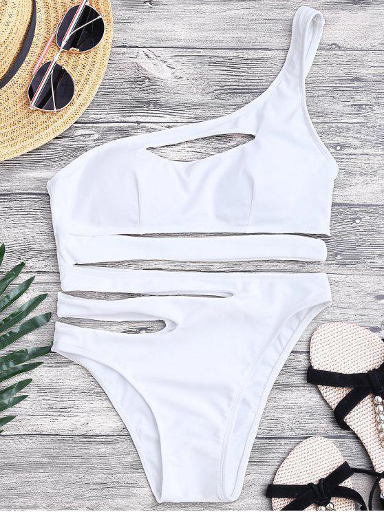 Bandage Asymmetric Einteiler Monokini Badeanzug - Weiß S