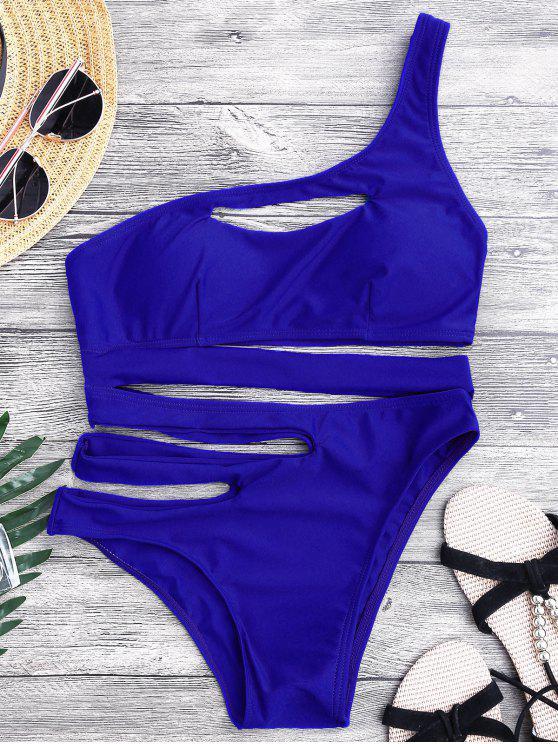 fancy Bandage Asymmetric One Piece Monokini Swimsuit - BLUE S