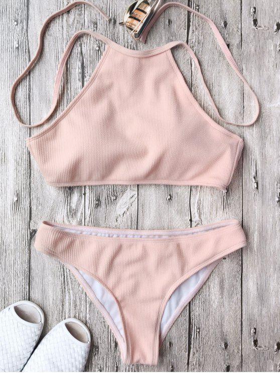 ladies Ribbed Textured High Neck Bikini Set - PINK M