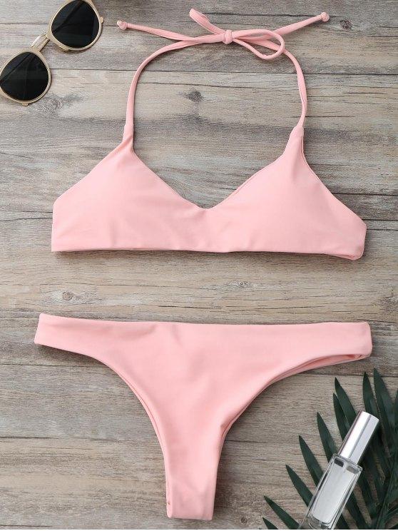 Gepolsterter Halter String Badeanzug - Pink S