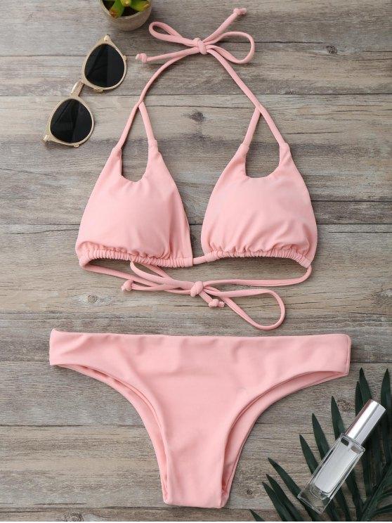 bikini rembourré à col halter - ROSE PÂLE S
