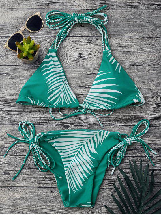 unique Tropical Palm Print String Bikini Set - GREEN M