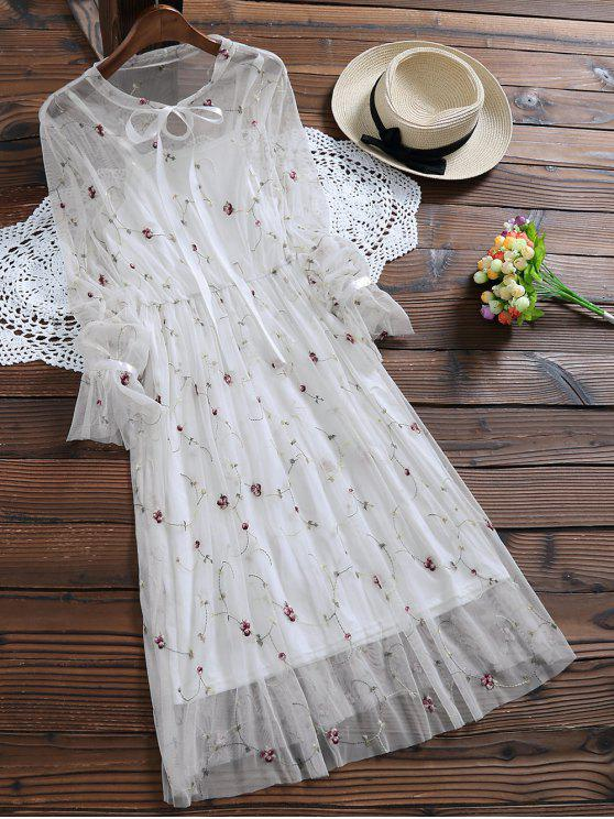 unique Long Sleeve Floral Tulle Dress With Tank Top - WHITE S