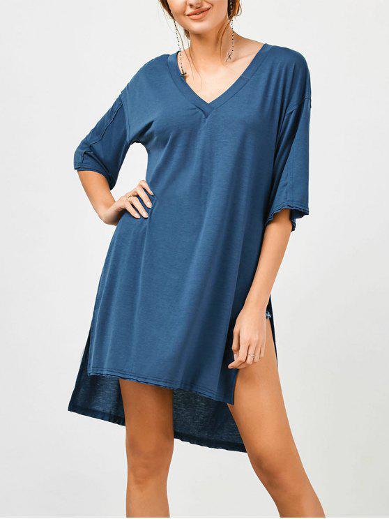 High Slit High Low Tunika T-Shirt - Blau L