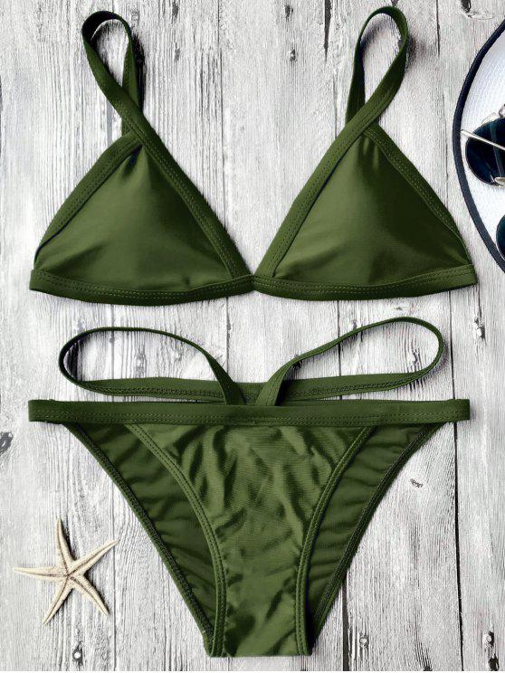 Gepolsterte V Form Thong Bikini Set - Bundeswehrgrün S