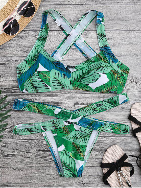 Conjunto de bikini de vendaje de espalda - Verde S