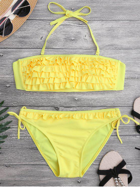 Ruffled Padded Bandeau Bikini - Gelb S