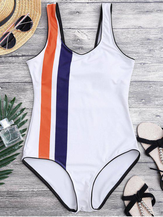 fancy Striped Contrasting Piped One Piece Swimsuit - WHITE L