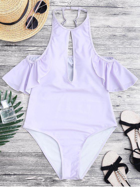 affordable High Cut Keyhole Neck One Piece Swimsuit - PURPLE L