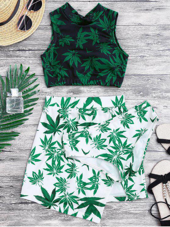 Traje de baño de impresión de malas hierbas y falda de cubierta - Verde XL
