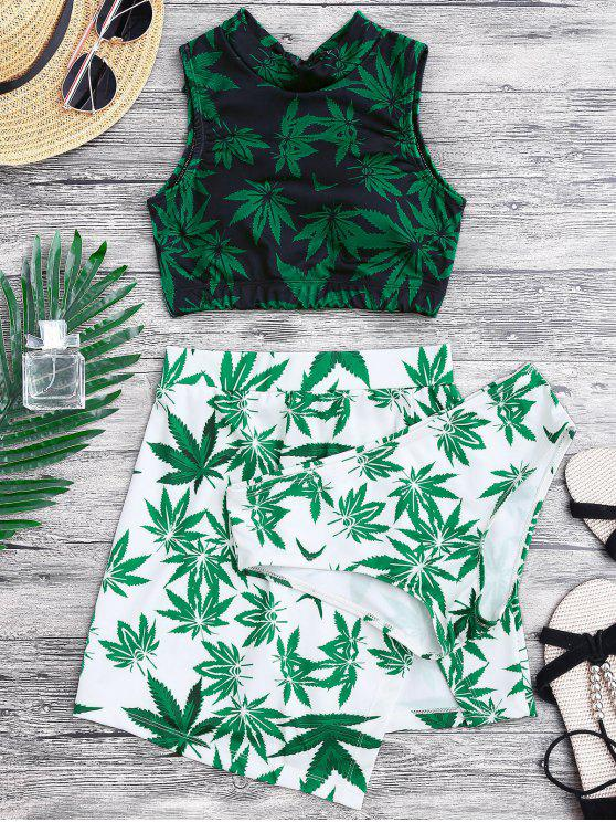 online Weed Print Swimsuit and Cover Up Skirt - GREEN M