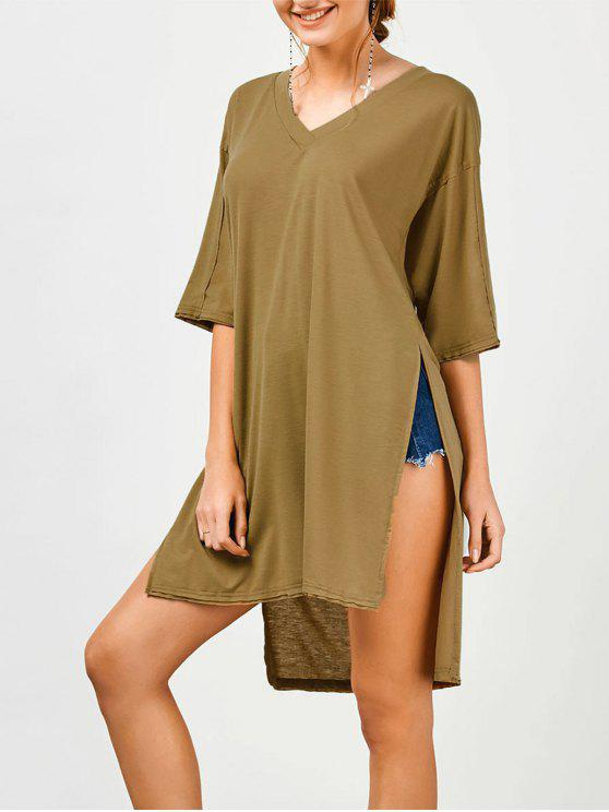 T-shirt Tunique Long Haut Bas à Fente Haute - Kaki Foncé L