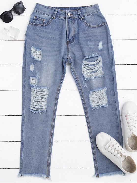 Zip Fly Frayed Hem Ripped Jeans - Blu Denim S