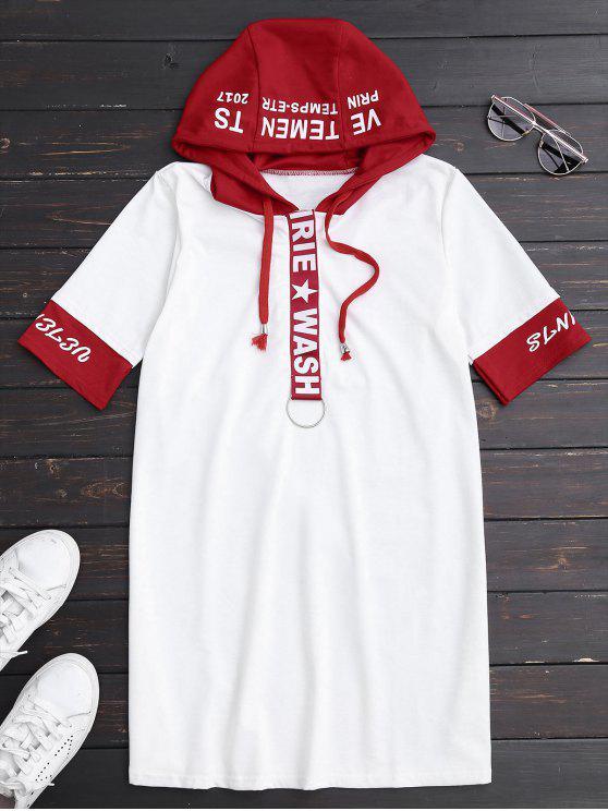 Drawstring con capucha camiseta gráfica vestido - Blanco S