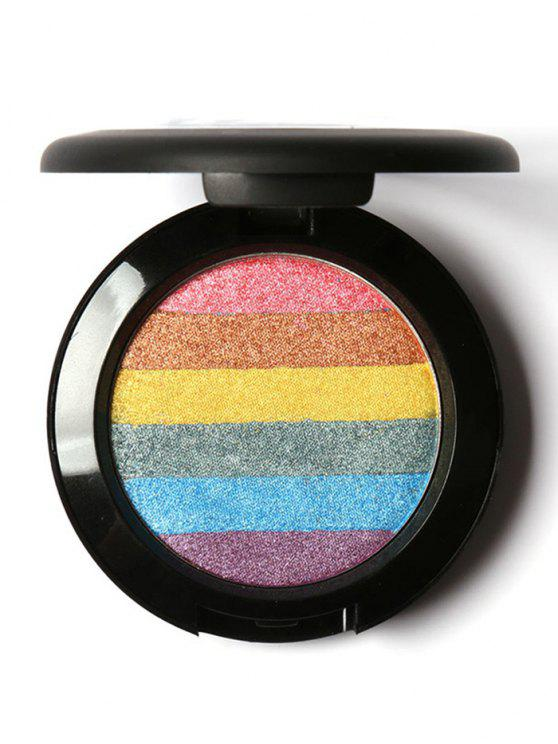 affordable Rainbow Palette Soft Mineral Highlighter Shimmer Powder - COLORFUL