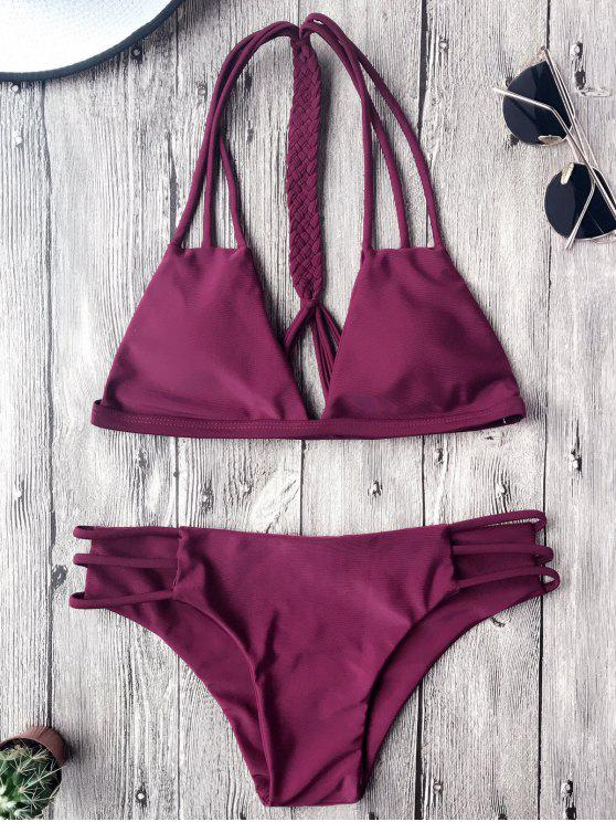 women Macrame T Back Strappy Bikini Set - MERLOT M