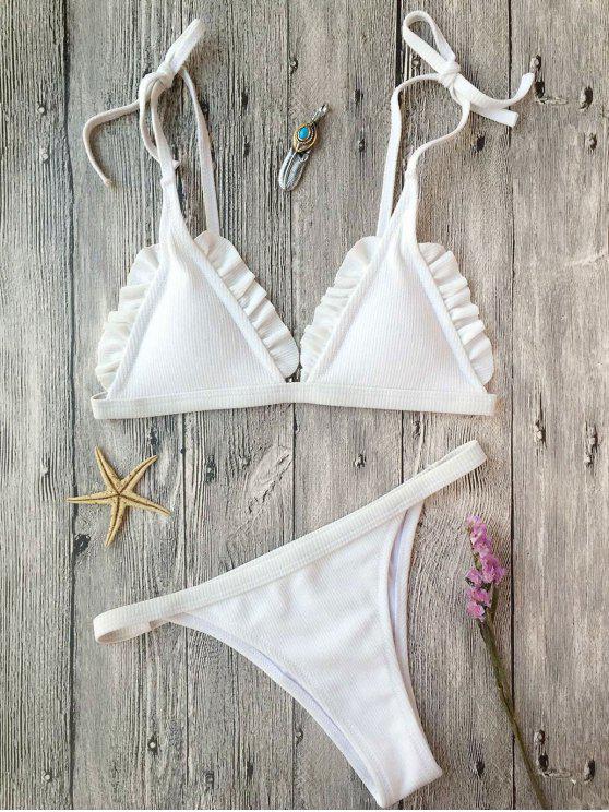 Rib Textured Frilled String Bikini Set - Weiß S