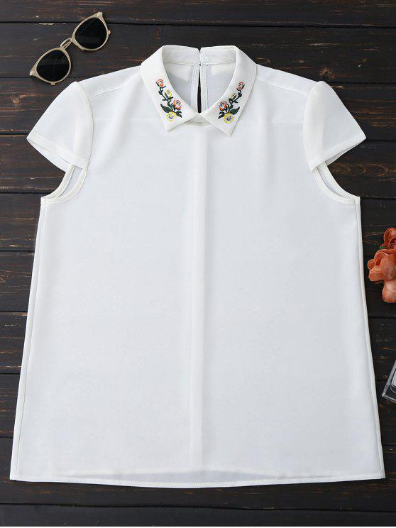 latest Cap Sleeve Embroidered Chiffon Blouse - WHITE L