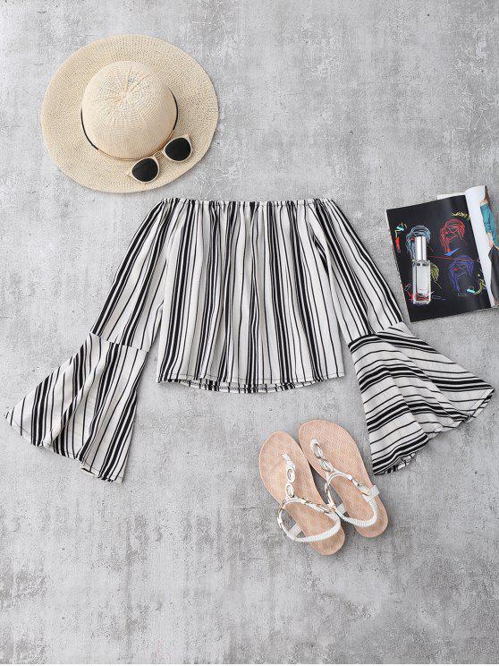 unique Stripes Flare Sleeve Off The Shoulder Blouse - WHITE S