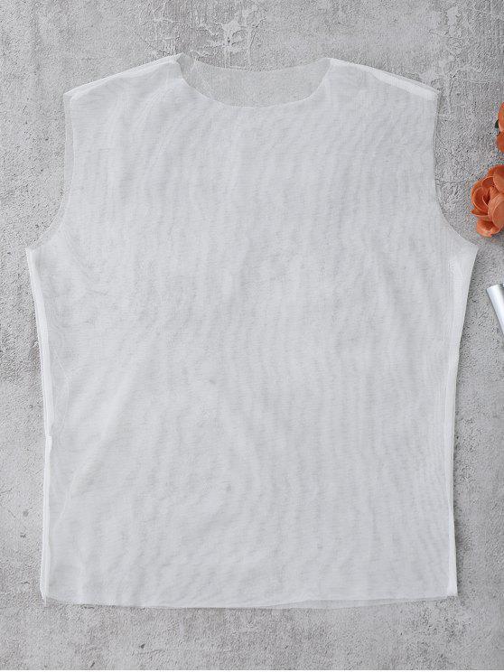 Camiseta sin mangas con revestimiento de malla - Blanco S