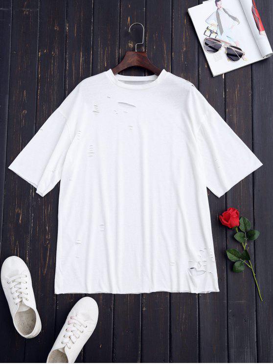 women Ripped Longline Shift T-Shirt - WHITE M